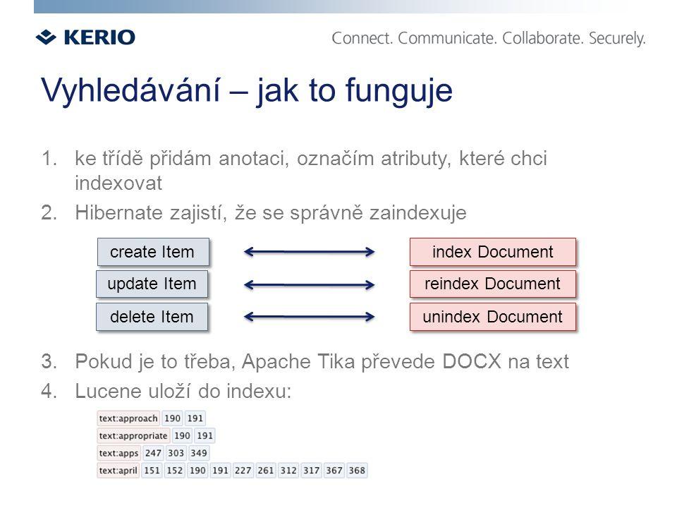 Vyhledávání – jak to funguje 1.ke třídě přidám anotaci, označím atributy, které chci indexovat 2.Hibernate zajistí, že se správně zaindexuje 3.Pokud je to třeba, Apache Tika převede DOCX na text 4.Lucene uloží do indexu: create Item update Item delete Item index Document reindex Document unindex Document