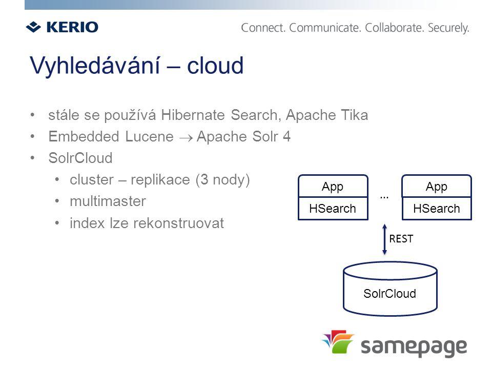 Vyhledávání – cloud stále se používá Hibernate Search, Apache Tika Embedded Lucene  Apache Solr 4 SolrCloud cluster – replikace (3 nody) multimaster index lze rekonstruovat SolrCloud App HSearch App HSearch...