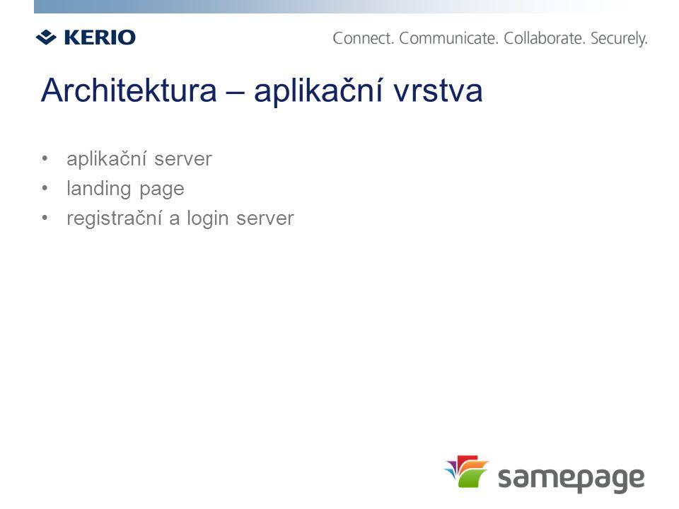 Architektura – aplikační vrstva aplikační server landing page registrační a login server