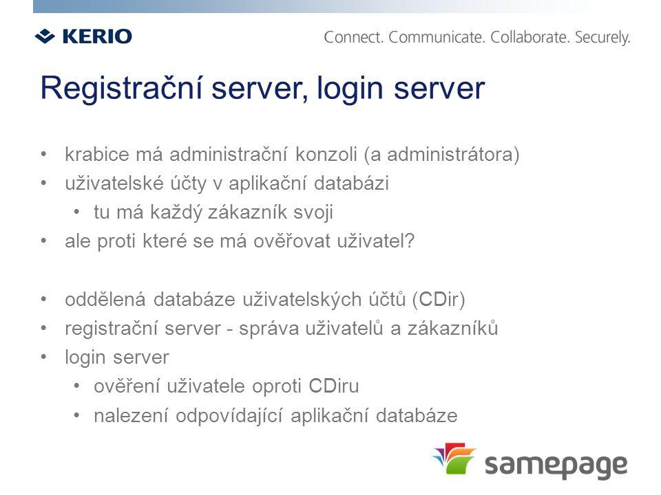 Registrační server, login server krabice má administrační konzoli (a administrátora) uživatelské účty v aplikační databázi tu má každý zákazník svoji