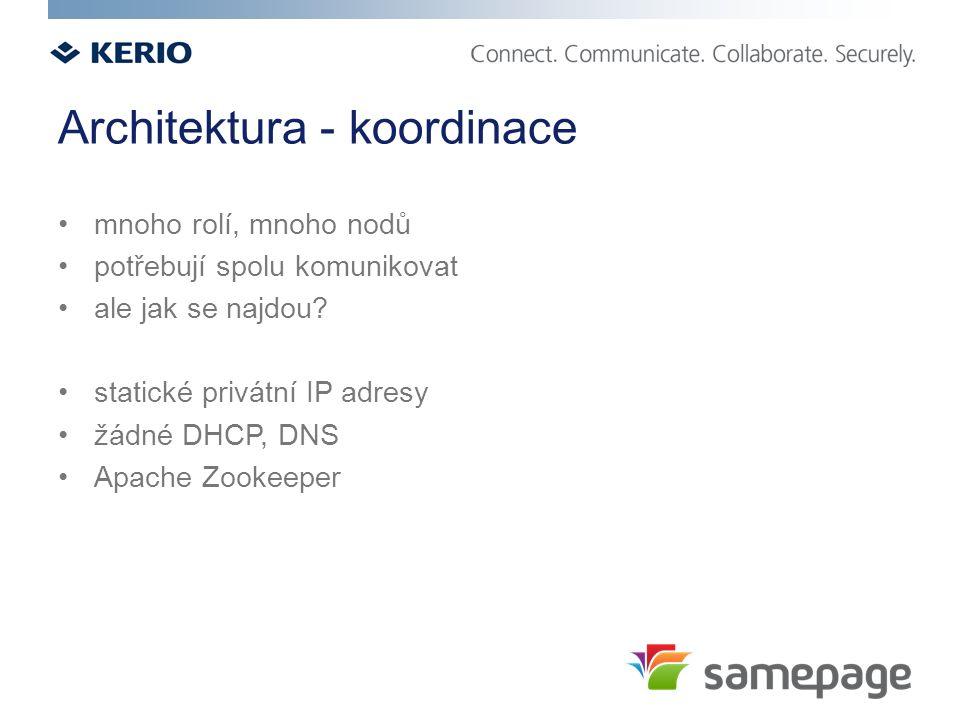 Architektura - koordinace mnoho rolí, mnoho nodů potřebují spolu komunikovat ale jak se najdou? statické privátní IP adresy žádné DHCP, DNS Apache Zoo