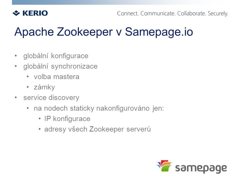 Apache Zookeeper v Samepage.io globální konfigurace globální synchronizace volba mastera zámky service discovery na nodech staticky nakonfigurováno jen: IP konfigurace adresy všech Zookeeper serverů