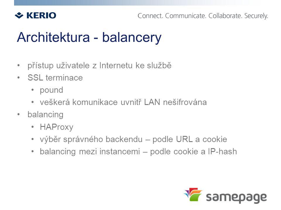 Architektura - balancery přístup uživatele z Internetu ke službě SSL terminace pound veškerá komunikace uvnitř LAN nešifrována balancing HAProxy výběr správného backendu – podle URL a cookie balancing mezi instancemi – podle cookie a IP-hash