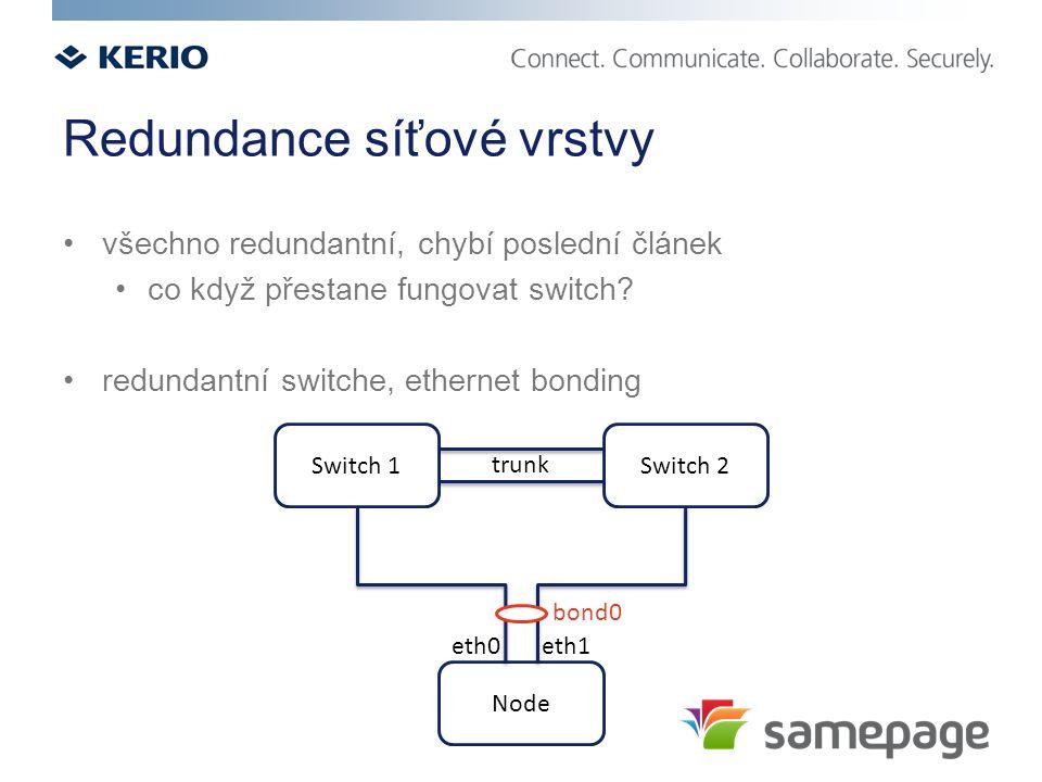 Redundance síťové vrstvy všechno redundantní, chybí poslední článek co když přestane fungovat switch? redundantní switche, ethernet bonding Switch 1 N