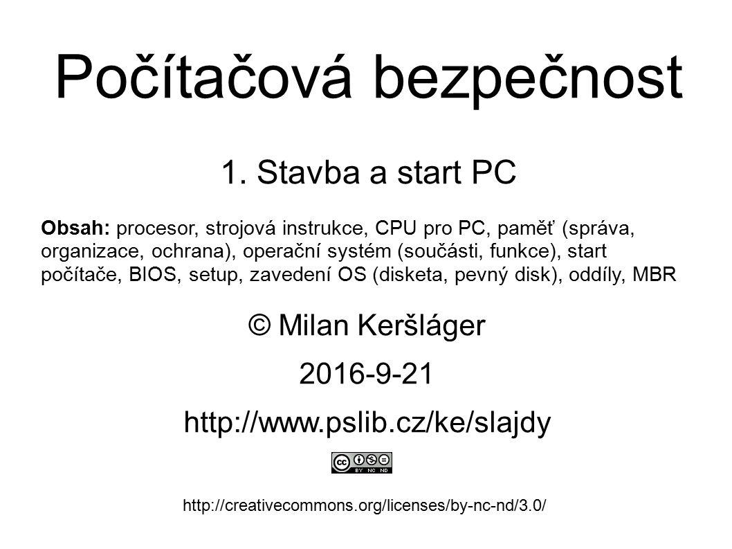 Stránkování paměti ● každý proces má svůj virtuální adresní prostor ● pro každý proces začíná vždy od nuly – strojová instrukce používá virtuální adresu – MMU (uvnitř CPU) převádí virtuální adresu na fyzickou – pro převod se používá tabulka stránek (uložena v RAM) – převod se dělá pro 4 KiB stránky (ne tedy jednotlivě) ● jedna stránka může být i větší (např.