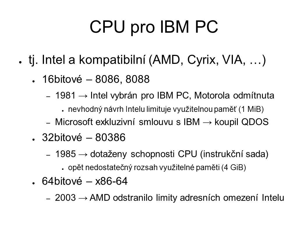 Zapnutí PC ● reset (signál propojující všechny obvody) ● po zapnutí nebo zmáčknutí tlačítka ● CPU do 16bitového režimu (jako Intel 8086) ● interpretace kódu od adresy 0xFFFF0 ● zde je umístěn BIOS – BIOS plně kontroluje první fázi startu PC ● vlastní BIOS mají i doplňující karty – grafická karta, řadiče pro disky, síťová karta atd.