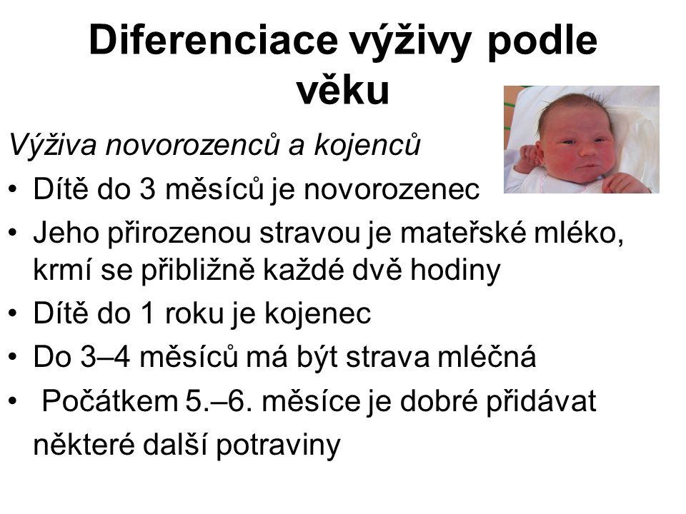 Diferenciace výživy podle věku Výživa novorozenců a kojenců Dítě do 3 měsíců je novorozenec Jeho přirozenou stravou je mateřské mléko, krmí se přibliž