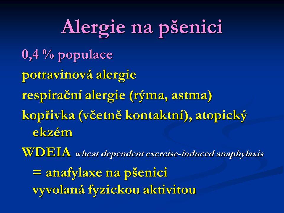 Alergie na pšenici 0,4 % populace potravinová alergie respirační alergie (rýma, astma) kopřivka (včetně kontaktní), atopický ekzém WDEIA wheat dependent exercise-induced anaphylaxis = anafylaxe na pšenici vyvolaná fyzickou aktivitou = anafylaxe na pšenici vyvolaná fyzickou aktivitou