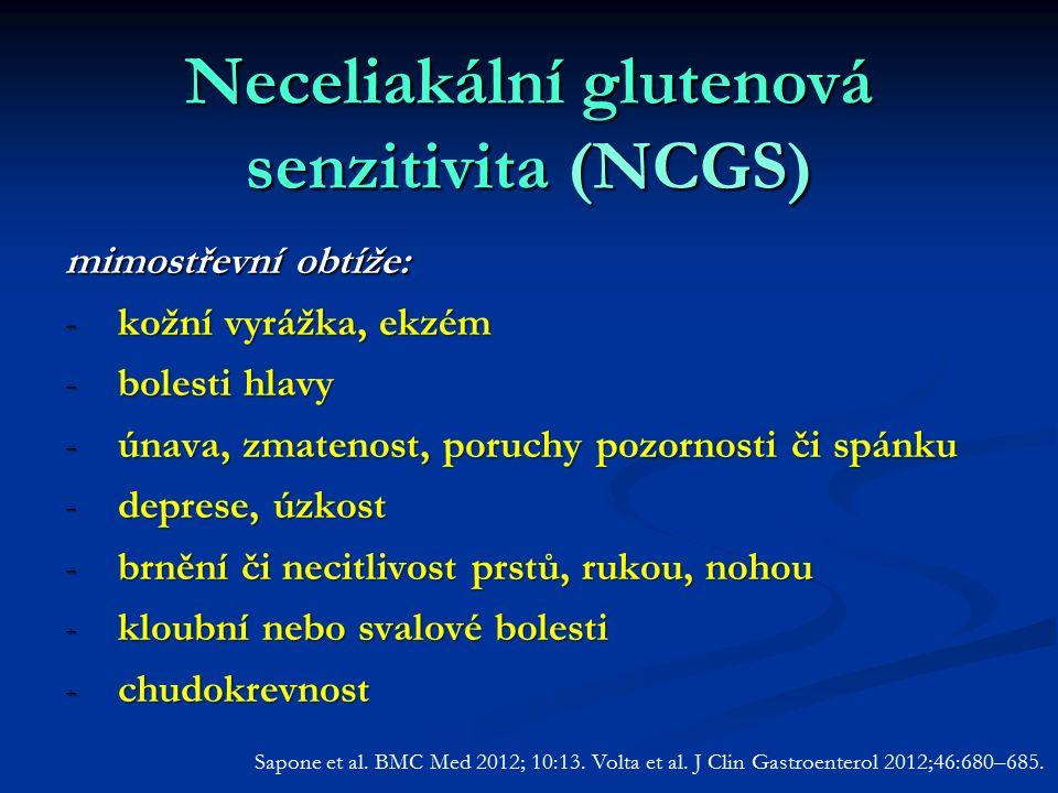 Neceliakální glutenová senzitivita (NCGS) mimostřevní obtíže: -kožní vyrážka, ekzém -bolesti hlavy -únava, zmatenost, poruchy pozornosti či spánku -deprese, úzkost -brnění či necitlivost prstů, rukou, nohou -kloubní nebo svalové bolesti -chudokrevnost Sapone et al.