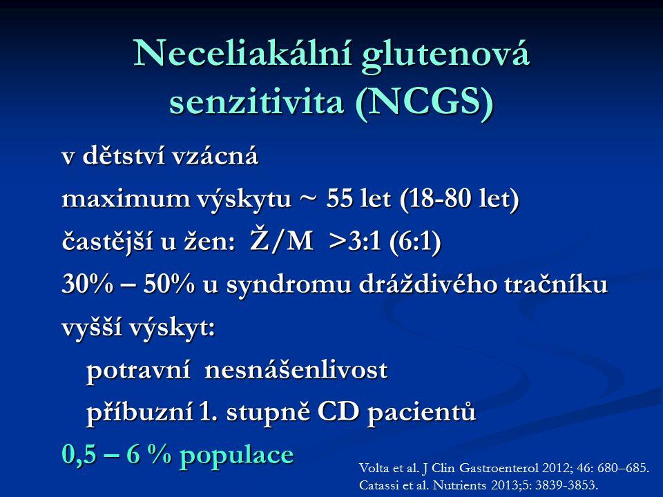 Neceliakální glutenová senzitivita (NCGS) v dětství vzácná maximum výskytu ~ 55 let (18-80 let) častější u žen: Ž/M >3:1 (6:1) 30% – 50% u syndromu dráždivého tračníku vyšší výskyt: potravní nesnášenlivost příbuzní 1.