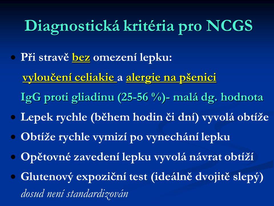 Diagnostická kritéria pro NCGS  bez  Při stravě bez omezení lepku: vyloučení celiakie alergie na pšenici vyloučení celiakie a alergie na pšenici IgG proti gliadinu (25-56 %)- malá dg.