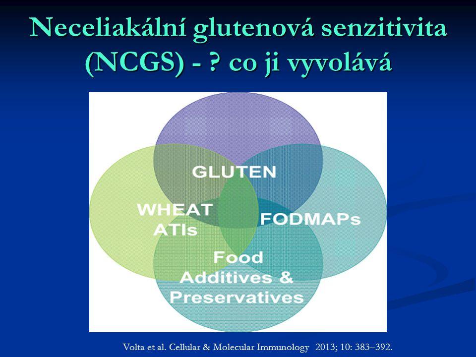 Neceliakální glutenová senzitivita (NCGS) - ? co ji vyvolává Volta et al. Cellular & Molecular Immunology 2013; 10: 383–392.