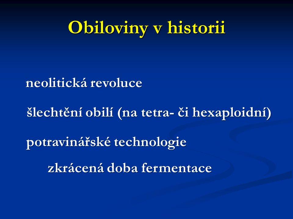 Obiloviny v historii neolitická revoluce neolitická revoluce šlechtění obilí (na tetra- či hexaploidní) šlechtění obilí (na tetra- či hexaploidní) pot