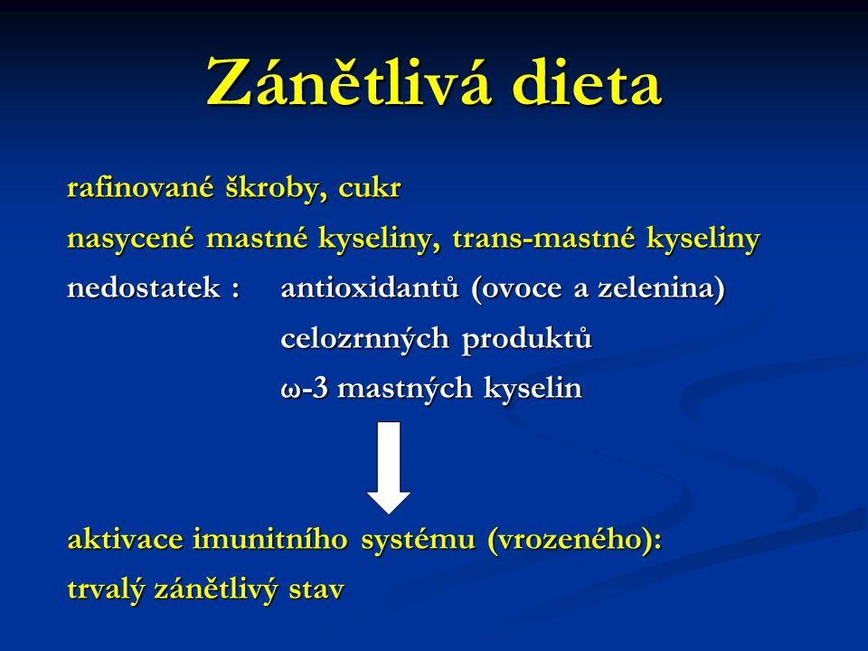 Zánětlivá dieta rafinované škroby, cukr nasycené mastné kyseliny, trans-mastné kyseliny nedostatek : antioxidantů (ovoce a zelenina) celozrnných produ