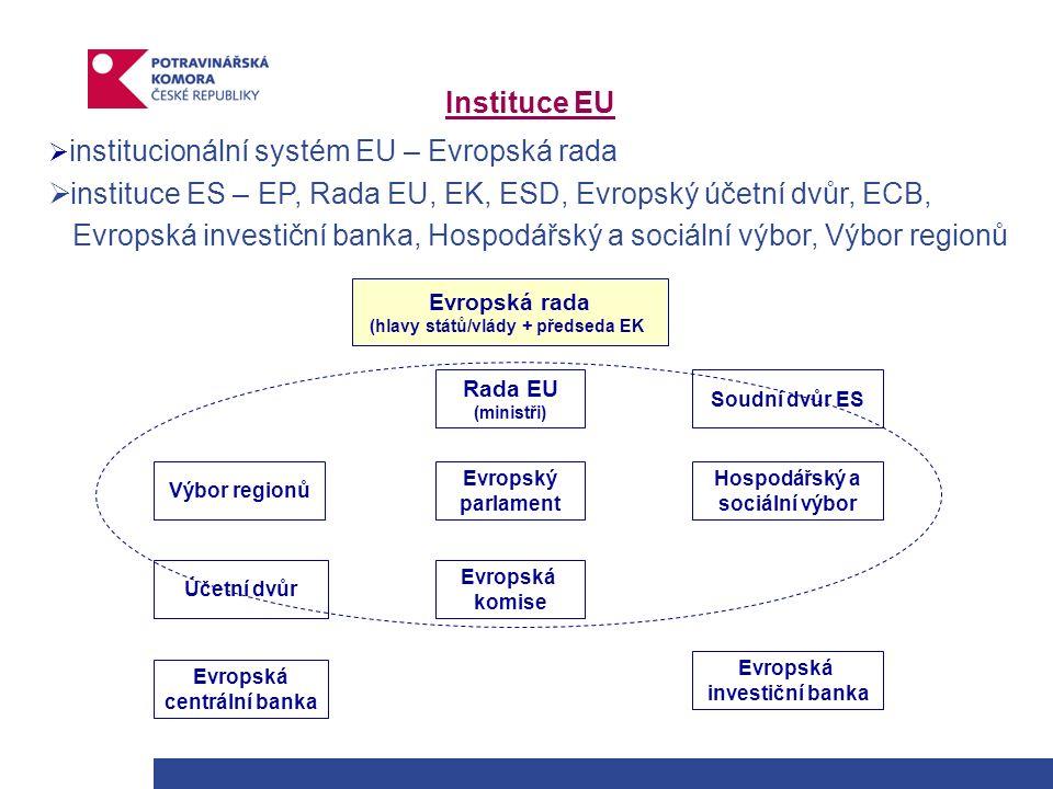 Instituce EU  institucionální systém EU – Evropská rada  instituce ES – EP, Rada EU, EK, ESD, Evropský účetní dvůr, ECB, Evropská investiční banka, Hospodářský a sociální výbor, Výbor regionů Evropská rada (hlavy států/vlády + předseda EK) Evropský parlament Evropská investiční banka Rada EU (ministři) Hospodářský a sociální výbor Výbor regionů Evropská centrální banka Evropská komise Soudní dvůr ES Účetní dvůr