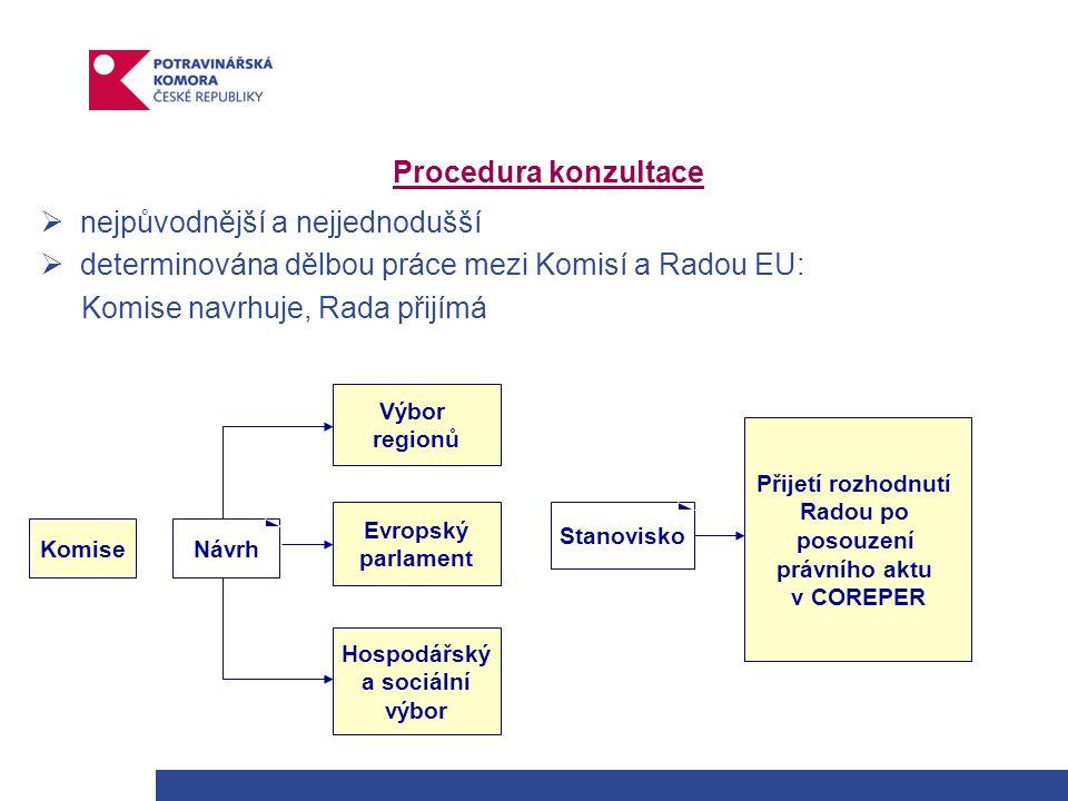 Procedura konzultace  nejpůvodnější a nejjednodušší  determinována dělbou práce mezi Komisí a Radou EU: Komise navrhuje, Rada přijímá KomiseNávrh Hospodářský a sociální výbor Výbor regionů Evropský parlament Stanovisko Přijetí rozhodnutí Radou po posouzení právního aktu v COREPER