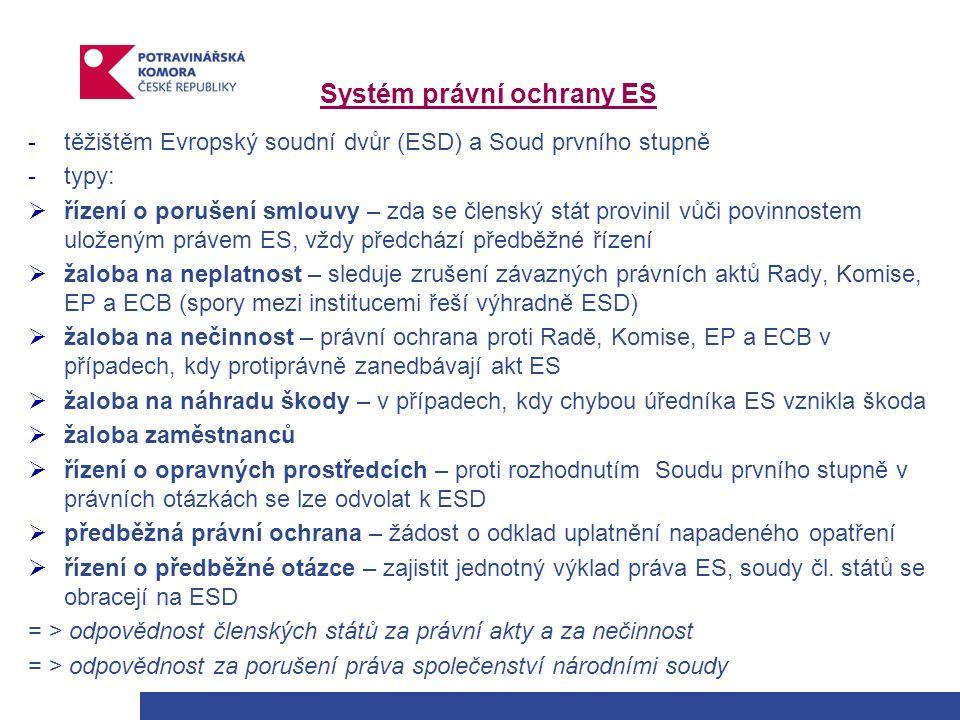 Systém právní ochrany ES -těžištěm Evropský soudní dvůr (ESD) a Soud prvního stupně -typy:  řízení o porušení smlouvy – zda se členský stát provinil vůči povinnostem uloženým právem ES, vždy předchází předběžné řízení  žaloba na neplatnost – sleduje zrušení závazných právních aktů Rady, Komise, EP a ECB (spory mezi institucemi řeší výhradně ESD)  žaloba na nečinnost – právní ochrana proti Radě, Komise, EP a ECB v případech, kdy protiprávně zanedbávají akt ES  žaloba na náhradu škody – v případech, kdy chybou úředníka ES vznikla škoda  žaloba zaměstnanců  řízení o opravných prostředcích – proti rozhodnutím Soudu prvního stupně v právních otázkách se lze odvolat k ESD  předběžná právní ochrana – žádost o odklad uplatnění napadeného opatření  řízení o předběžné otázce – zajistit jednotný výklad práva ES, soudy čl.