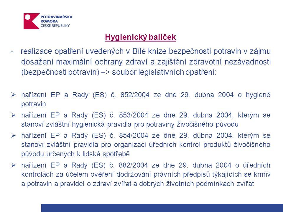 Hygienický balíček - realizace opatření uvedených v Bílé knize bezpečnosti potravin v zájmu dosažení maximální ochrany zdraví a zajištění zdravotní nezávadnosti (bezpečnosti potravin) => soubor legislativních opatření:  nařízení EP a Rady (ES) č.