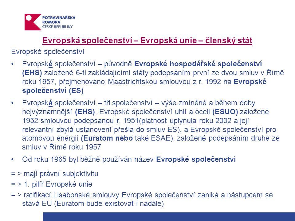 Evropská společenství – Evropská unie – členský stát Evropské společenství Evropské společenství – původně Evropské hospodářské společenství (EHS) založené 6-ti zakládajícími státy podepsáním první ze dvou smluv v Římě roku 1957, přejmenováno Maastrichtskou smlouvou z r.