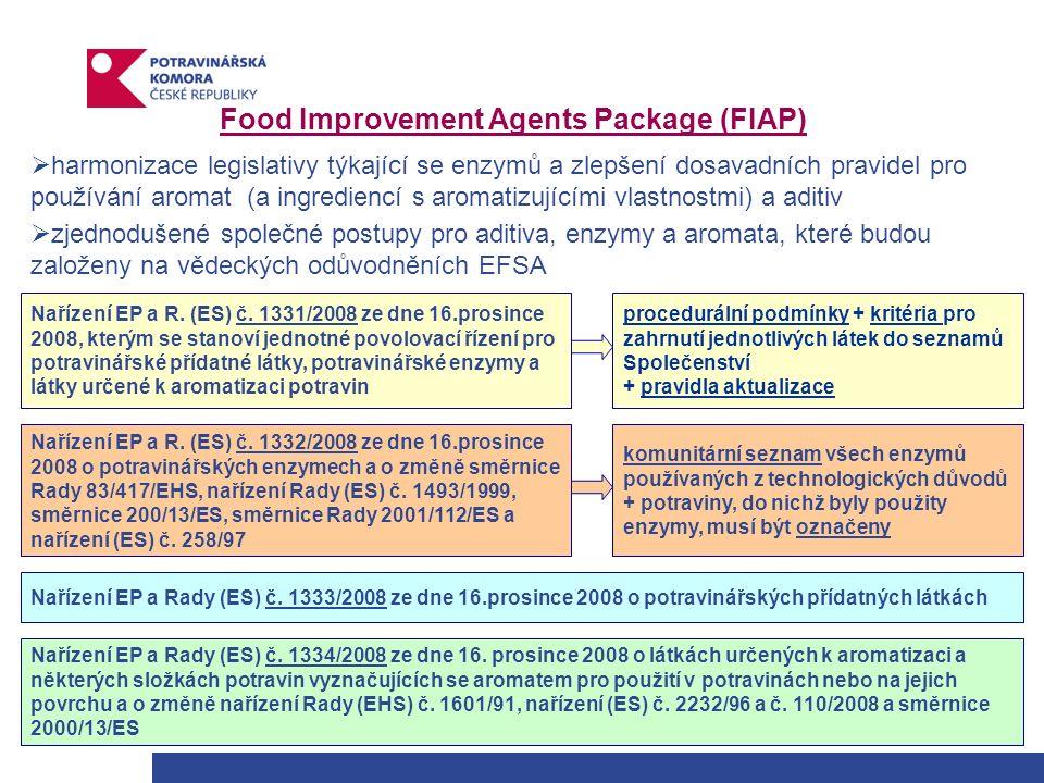 Food Improvement Agents Package (FIAP)  harmonizace legislativy týkající se enzymů a zlepšení dosavadních pravidel pro používání aromat (a ingrediencí s aromatizujícími vlastnostmi) a aditiv  zjednodušené společné postupy pro aditiva, enzymy a aromata, které budou založeny na vědeckých odůvodněních EFSA Nařízení EP a R.
