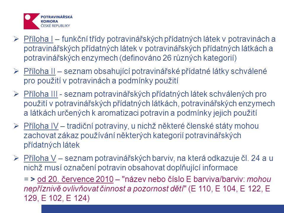  Příloha I – funkční třídy potravinářských přídatných látek v potravinách a potravinářských přídatných látek v potravinářských přídatných látkách a potravinářských enzymech (definováno 26 různých kategorií)  Příloha II – seznam obsahující potravinářské přídatné látky schválené pro použití v potravinách a podmínky použití  Příloha III - seznam potravinářských přídatných látek schválených pro použití v potravinářských přídatných látkách, potravinářských enzymech a látkách určených k aromatizaci potravin a podmínky jejich použití  Příloha IV – tradiční potraviny, u nichž některé členské státy mohou zachovat zákaz používání některých kategorií potravinářských přídatných látek  Příloha V – seznam potravinářských barviv, na která odkazuje čl.