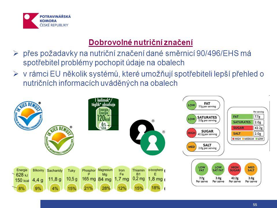 55 Dobrovolné nutriční značení  přes požadavky na nutriční značení dané směrnicí 90/496/EHS má spotřebitel problémy pochopit údaje na obalech  v rámci EU několik systémů, které umožňují spotřebiteli lepší přehled o nutričních informacích uváděných na obalech