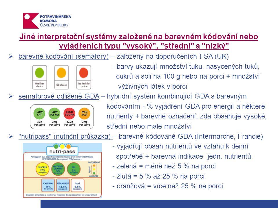 Jiné interpretační systémy založené na barevném kódování nebo vyjádřeních typu vysoký , střední a nízký  barevné kódování (semafory) – založeny na doporučeních FSA (UK) - barvy ukazují množství tuku, nasycených tuků, cukrů a soli na 100 g nebo na porci + množství výživných látek v porci  semaforově odlišené GDA – hybridní systém kombinující GDA s barevným kódováním - % vyjádření GDA pro energii a některé nutrienty + barevné označení, zda obsahuje vysoké, střední nebo malé množství  nutripass (nutriční průkazka) – barevně kódované GDA (Intermarche, Francie) - vyjadřují obsah nutrientů ve vztahu k denní spotřebě + barevná indikace jedn.