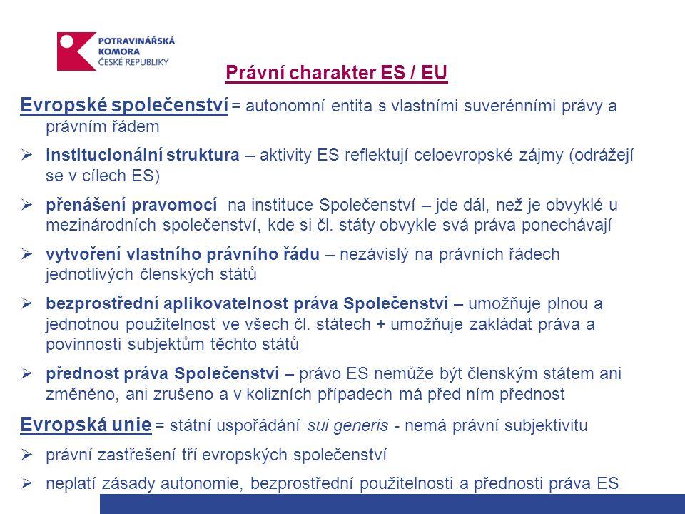 Právní charakter ES / EU Evropské společenství = autonomní entita s vlastními suverénními právy a právním řádem  institucionální struktura – aktivity ES reflektují celoevropské zájmy (odrážejí se v cílech ES)  přenášení pravomocí na instituce Společenství – jde dál, než je obvyklé u mezinárodních společenství, kde si čl.