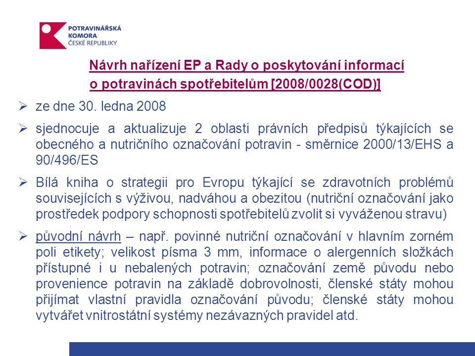 Návrh nařízení EP a Rady o poskytování informací o potravinách spotřebitelům [2008/0028(COD)]  ze dne 30.