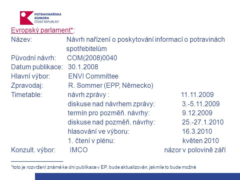 Evropský parlament*: Název: Návrh nařízení o poskytování informací o potravinách spotřebitelům Původní návrh: COM(2008)0040 Datum publikace: 30.1.2008 Hlavní výbor: ENVI Committee Zpravodaj: R.