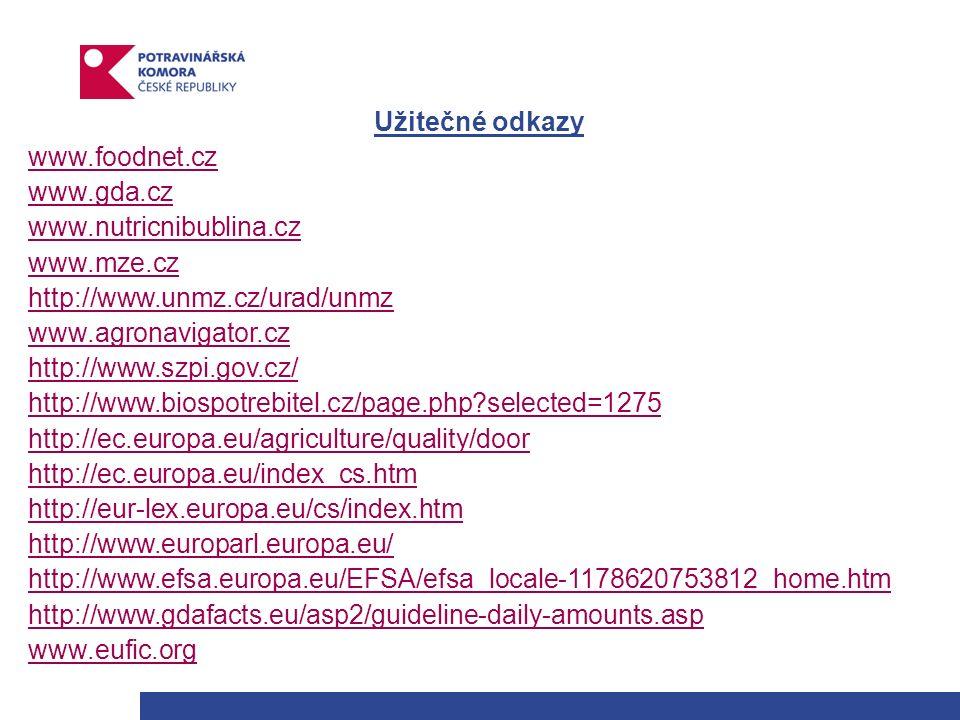 Užitečné odkazy www.foodnet.cz www.gda.cz www.nutricnibublina.cz www.mze.cz http://www.unmz.cz/urad/unmz www.agronavigator.cz http://www.szpi.gov.cz/ http://www.biospotrebitel.cz/page.php selected=1275 http://ec.europa.eu/agriculture/quality/door http://ec.europa.eu/index_cs.htm http://eur-lex.europa.eu/cs/index.htm http://www.europarl.europa.eu/ http://www.efsa.europa.eu/EFSA/efsa_locale-1178620753812_home.htm http://www.gdafacts.eu/asp2/guideline-daily-amounts.asp www.eufic.org