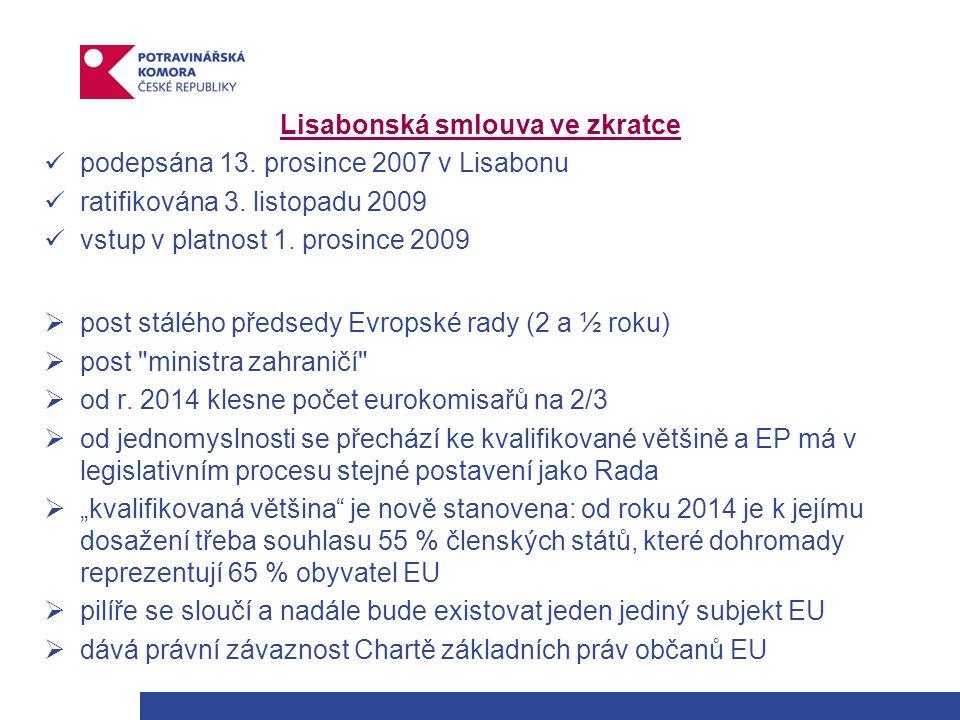 Lisabonská smlouva ve zkratce podepsána 13. prosince 2007 v Lisabonu ratifikována 3.