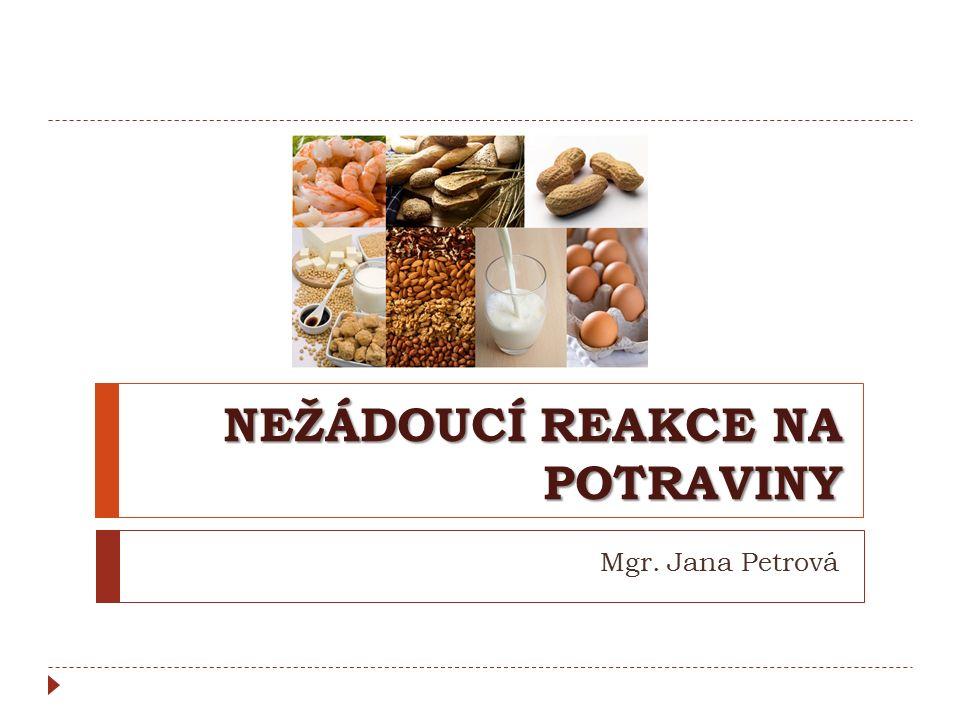 NEŽÁDOUCÍ REAKCE NA POTRAVINY Mgr. Jana Petrová