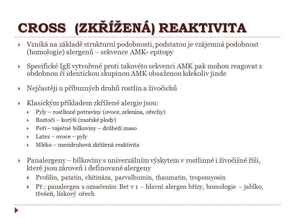 CROSS (ZKŘÍŽENÁ) REAKTIVITA  Vzniká na základě strukturní podobnosti, podstatou je vzájemná podobnost (homologie) alergenů – sekvence AMK- epitopy 
