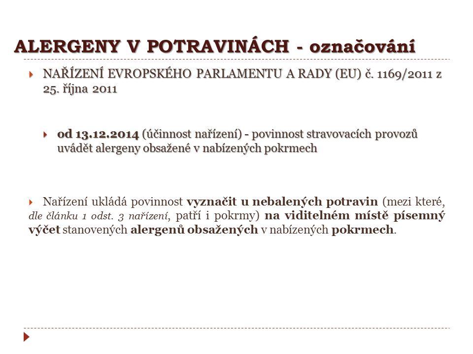 ALERGENY V POTRAVINÁCH - označování  NAŘÍZENÍ EVROPSKÉHO PARLAMENTU A RADY (EU) č. 1169/2011 z 25. října 2011  od 13.12.2014 (účinnost nařízení) - p