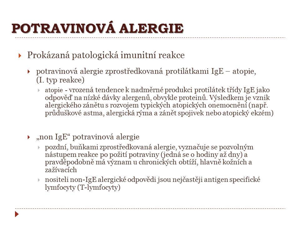 POTRAVINOVÁ ALERGIE  Prokázaná patologická imunitní reakce  potravinová alergie zprostředkovaná protilátkami IgE – atopie, (I. typ reakce)  atopie