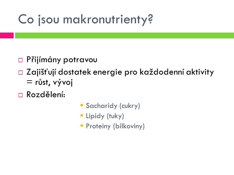 Sacharidy(cukry)  Cukry, karbohydráty, uhlovodany  Stavební prvek pojivových tkání (chrupavky, vazy)  50-80 % energetická potřeba člověka  Nižší energetická hodnota např.