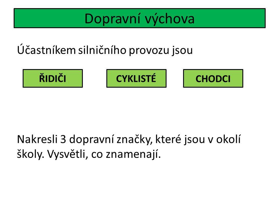 Dopravní výchova Účastníkem silničního provozu jsou Nakresli 3 dopravní značky, které jsou v okolí školy.