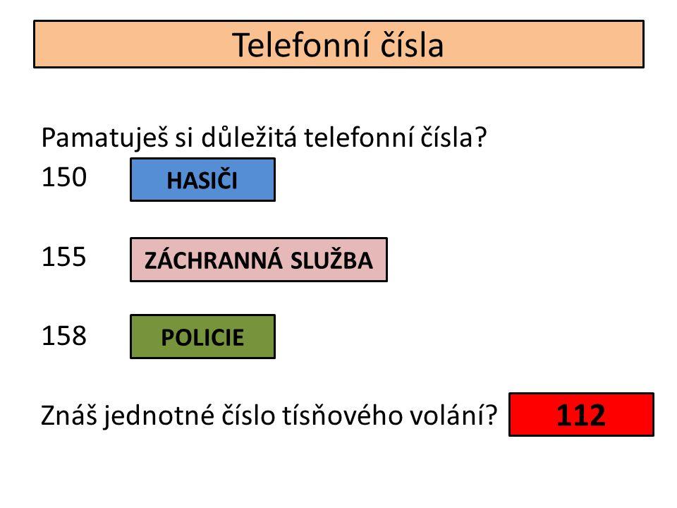 Telefonní čísla Pamatuješ si důležitá telefonní čísla.