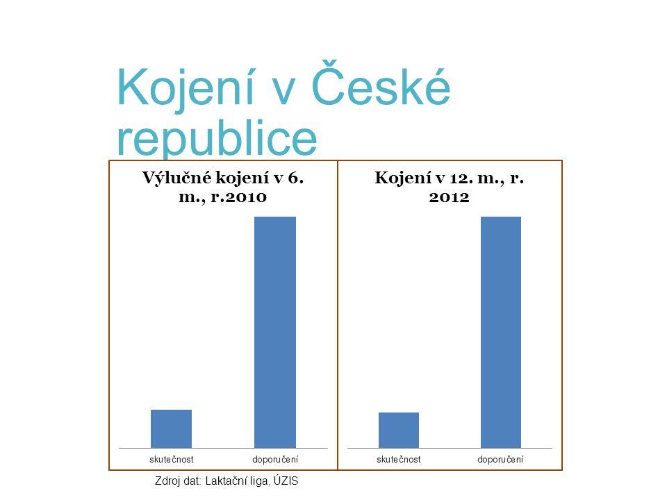 Kojení v České republice Zdroj dat: Laktační liga, ÚZIS