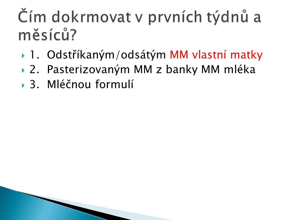  1.Odstříkaným/odsátým MM vlastní matky  2.Pasterizovaným MM z banky MM mléka  3.Mléčnou formulí