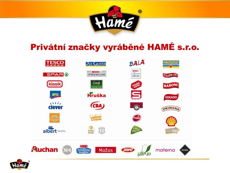 Privátní značky vyráběné HAMÉ s.r.o.