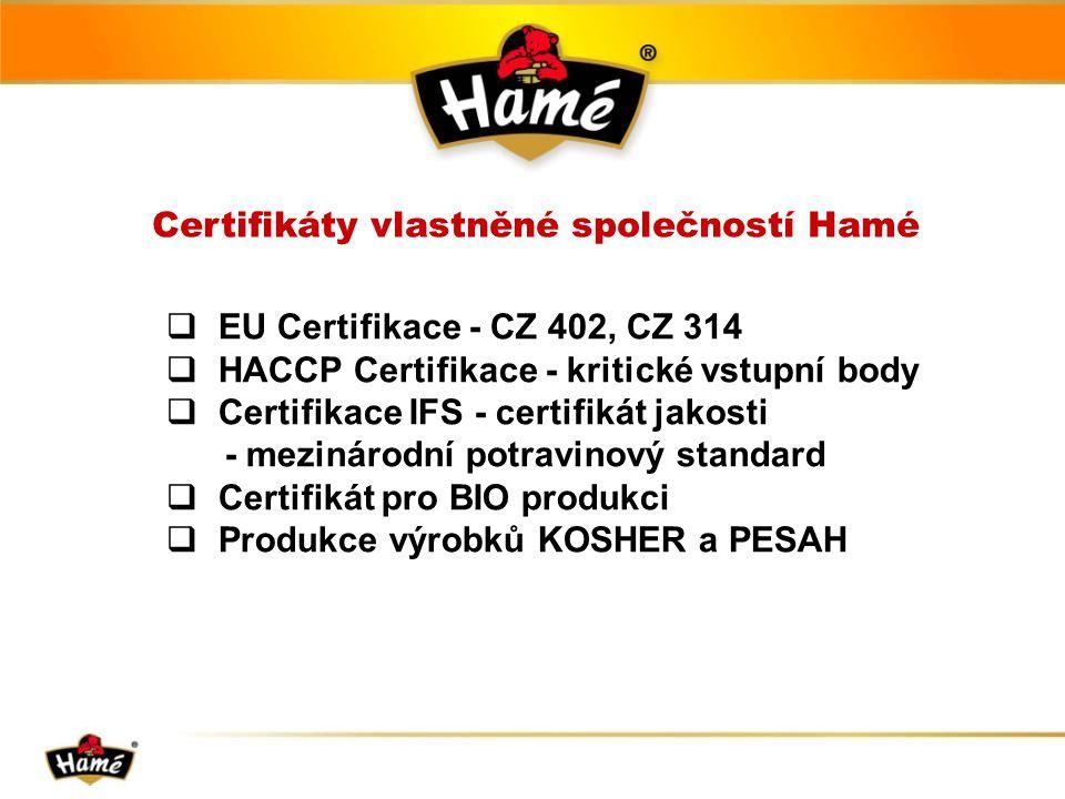 Certifikáty vlastněné společností Hamé  EU Certifikace - CZ 402, CZ 314  HACCP Certifikace - kritické vstupní body  Certifikace IFS - certifikát jakosti - mezinárodní potravinový standard  Certifikát pro BIO produkci  Produkce výrobků KOSHER a PESAH