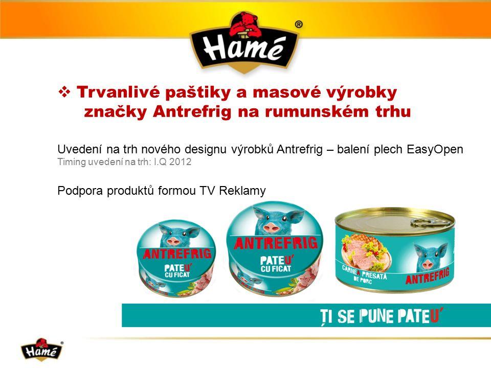  Trvanlivé paštiky a masové výrobky značky Antrefrig na rumunském trhu Uvedení na trh nového designu výrobků Antrefrig – balení plech EasyOpen Timing uvedení na trh: I.Q 2012 Podpora produktů formou TV Reklamy