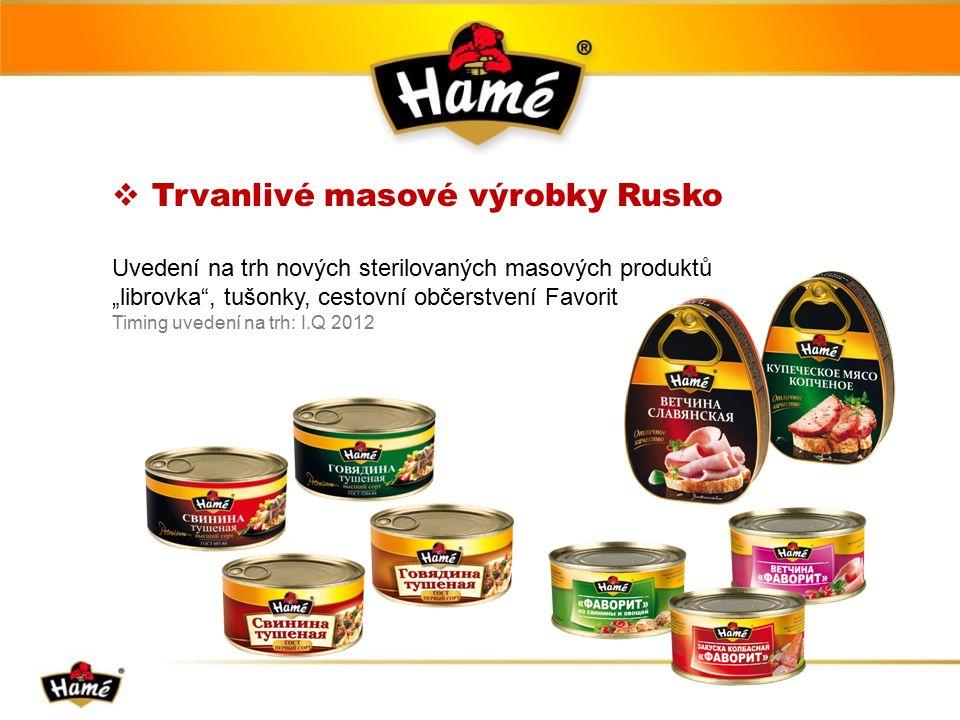 " Trvanlivé masové výrobky Rusko Uvedení na trh nových sterilovaných masových produktů ""librovka , tušonky, cestovní občerstvení Favorit Timing uvedení na trh: I.Q 2012"