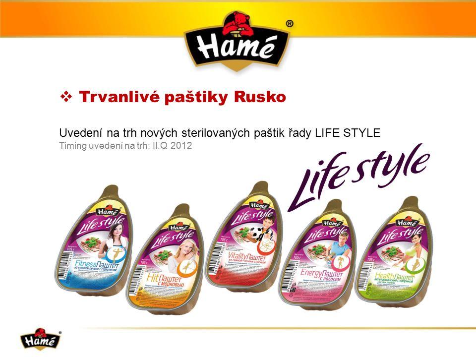  Trvanlivé paštiky Rusko Uvedení na trh nových sterilovaných paštik řady LIFE STYLE Timing uvedení na trh: II.Q 2012
