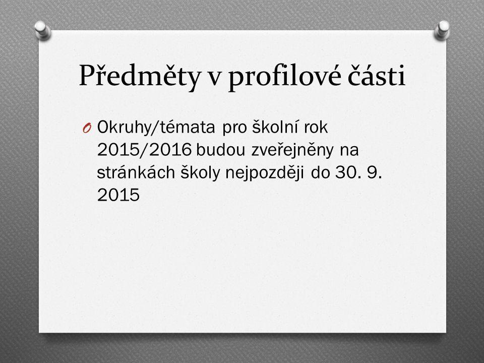Předměty v profilové části O Okruhy/témata pro školní rok 2015/2016 budou zveřejněny na stránkách školy nejpozději do 30.
