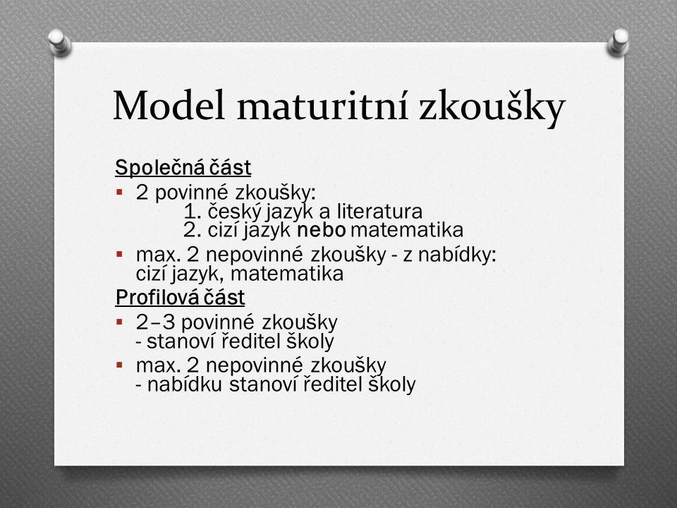 Model maturitní zkoušky Společná část  2 povinné zkoušky: 1.