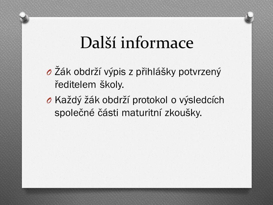 Další informace O Žák obdrží výpis z přihlášky potvrzený ředitelem školy.