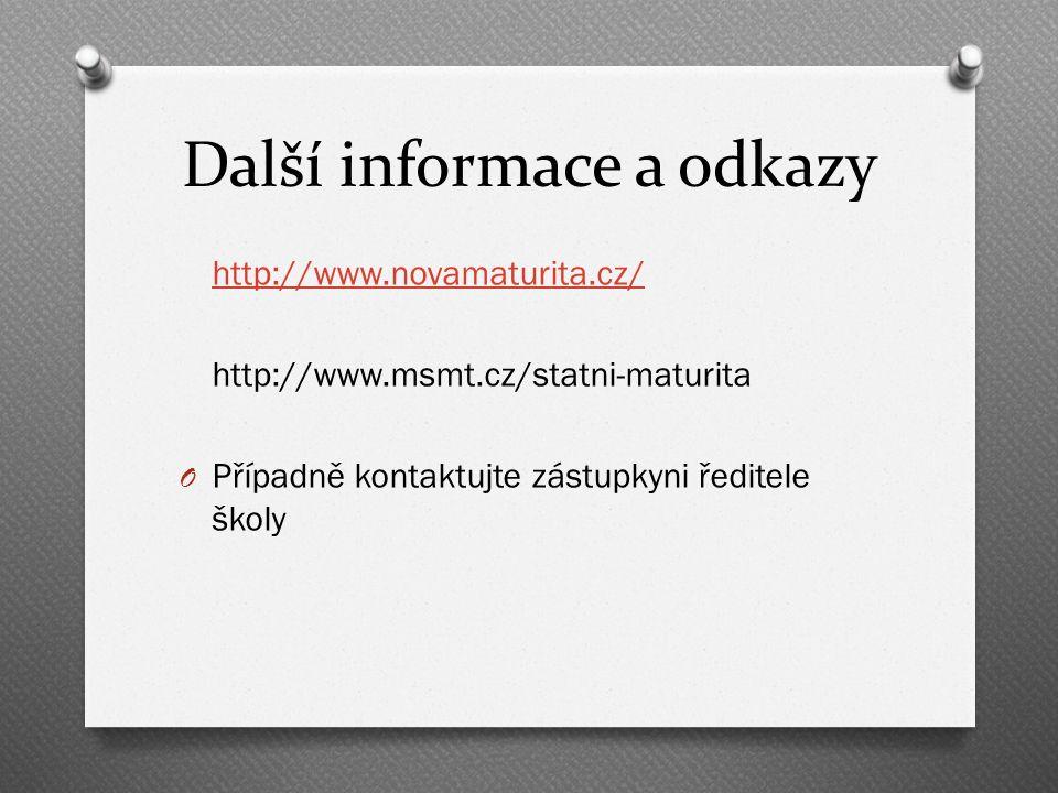 Další informace a odkazy http://www.novamaturita.cz/ http://www.msmt.cz/statni-maturita O Případně kontaktujte zástupkyni ředitele školy